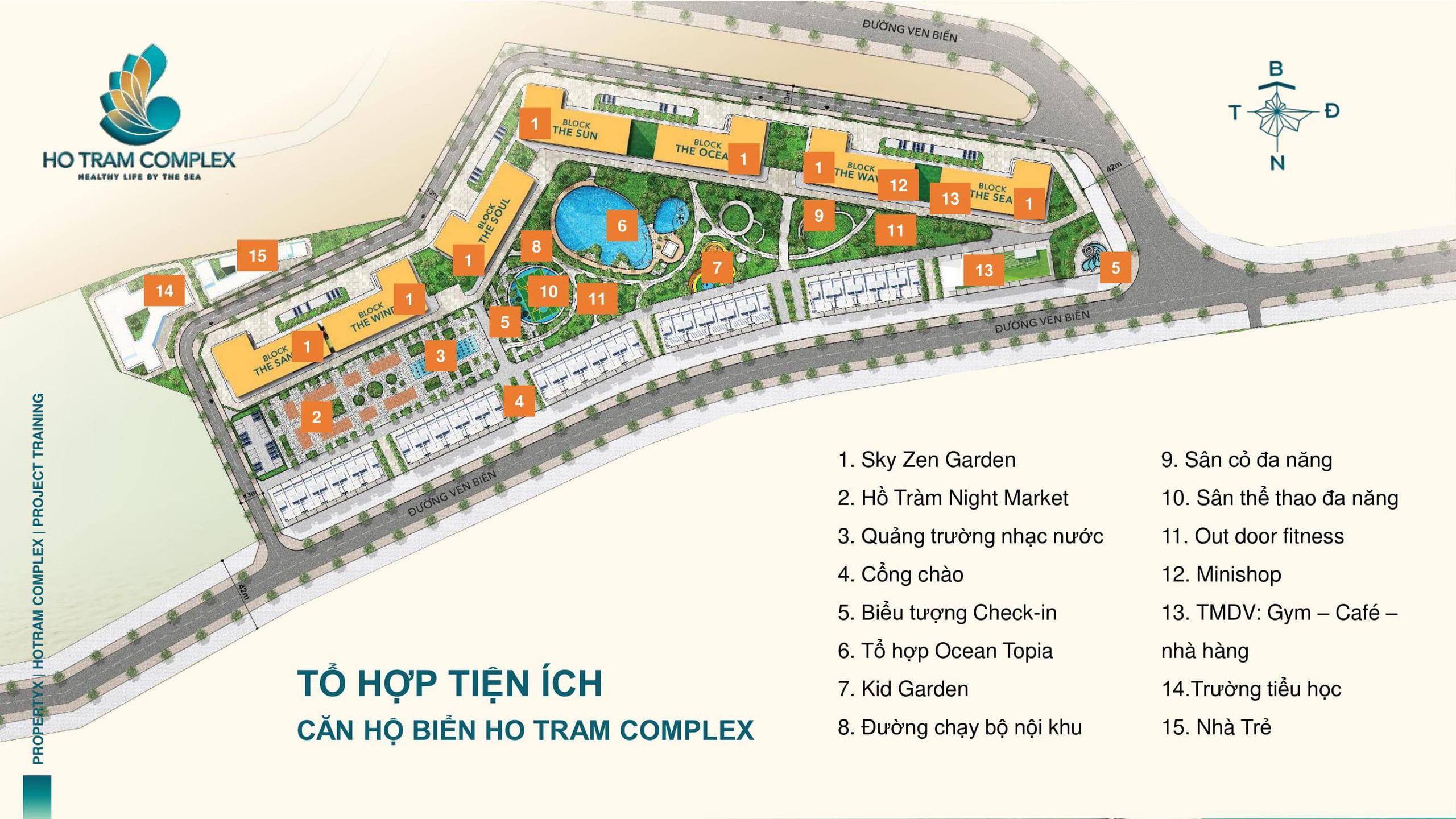 Măt bằng tổng quan dự án Hồ Tràm Complex